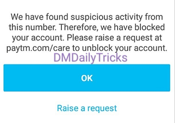 Block paytm account